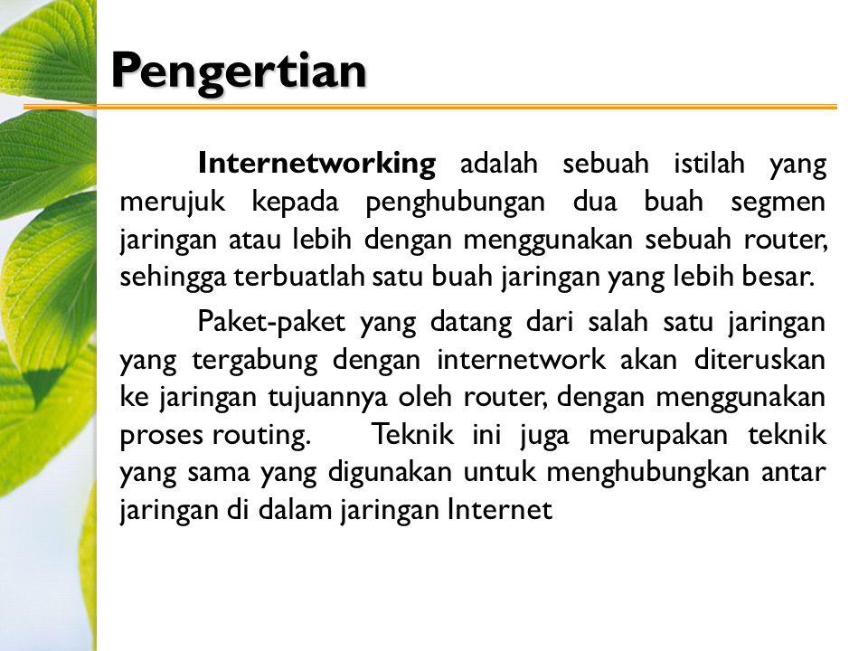 Pengertian Internetworking adalah sebuah istilah yang merujuk kepada penghubungan dua buah segmen jaringan atau lebih dengan menggunakan sebuah router, sehingga terbuatlah satu buah jaringan yang lebih besar.
