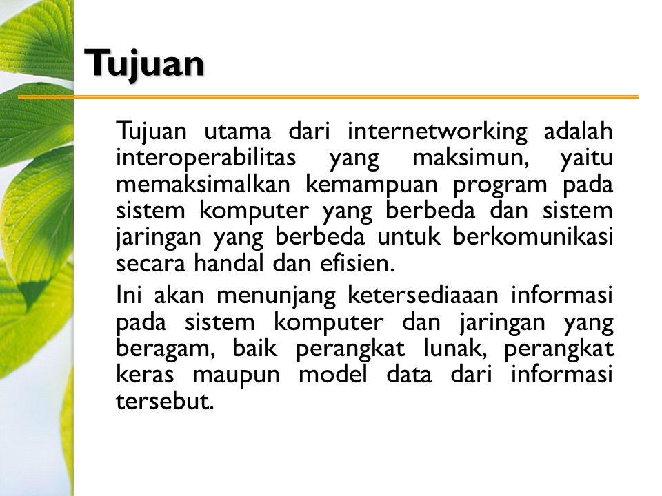Tujuan Tujuan utama dari internetworking adalah interoperabilitas yang maksimun, yaitu memaksimalkan kemampuan program pada sistem komputer yang berbeda dan sistem jaringan yang berbeda untuk berkomunikasi secara handal dan efisien.