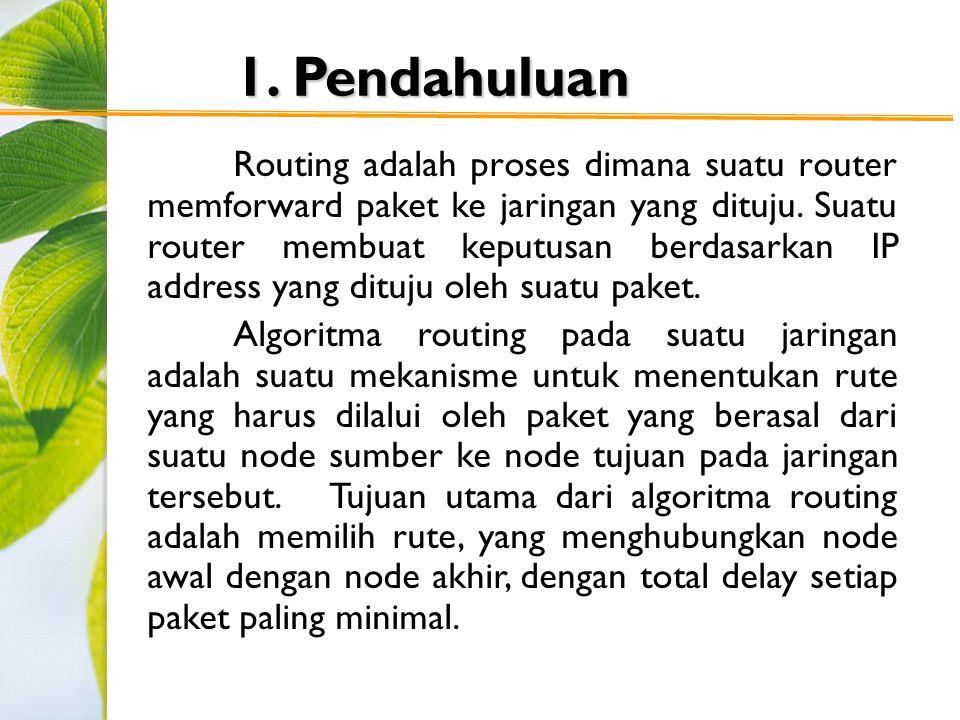 1. Pendahuluan Routing adalah proses dimana suatu router memforward paket ke jaringan yang dituju. Suatu router membuat keputusan berdasarkan IP addre
