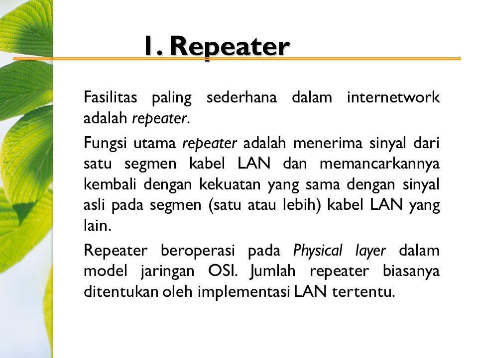 1. Repeater Fasilitas paling sederhana dalam internetwork adalah repeater. Fungsi utama repeater adalah menerima sinyal dari satu segmen kabel LAN dan