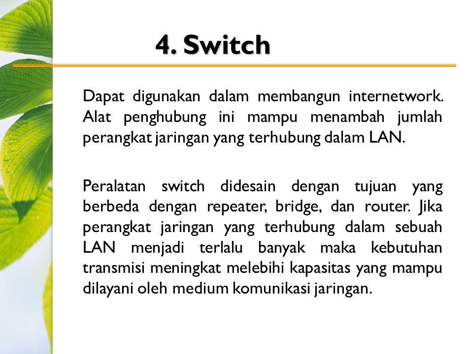 4.Switch Dapat digunakan dalam membangun internetwork.