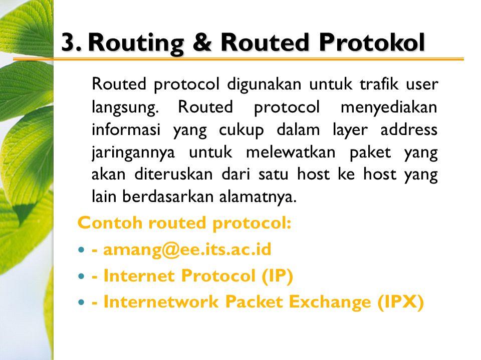 3.Routing & Routed Protokol Routed protocol digunakan untuk trafik user langsung.