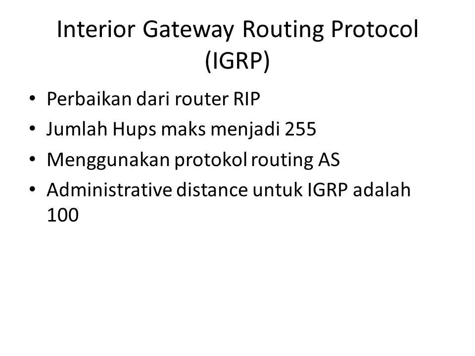 Interior Gateway Routing Protocol (IGRP) Perbaikan dari router RIP Jumlah Hups maks menjadi 255 Menggunakan protokol routing AS Administrative distanc