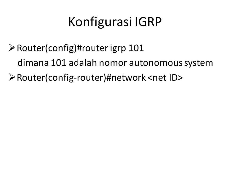Konfigurasi IGRP  Router(config)#router igrp 101 dimana 101 adalah nomor autonomous system  Router(config-router)#network