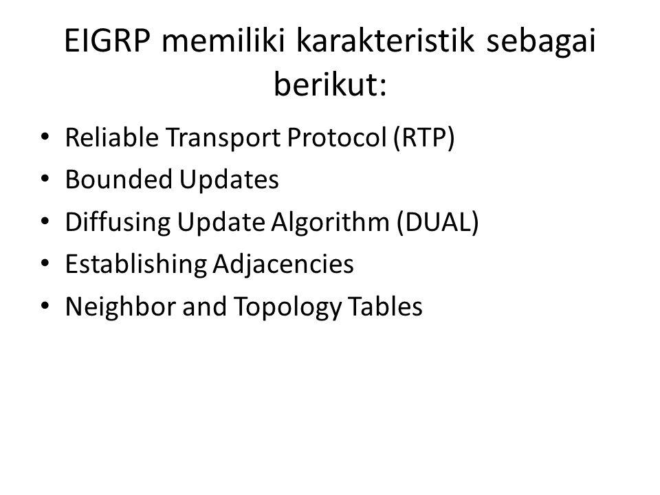 EIGRP memiliki karakteristik sebagai berikut: Reliable Transport Protocol (RTP) Bounded Updates Diffusing Update Algorithm (DUAL) Establishing Adjacen
