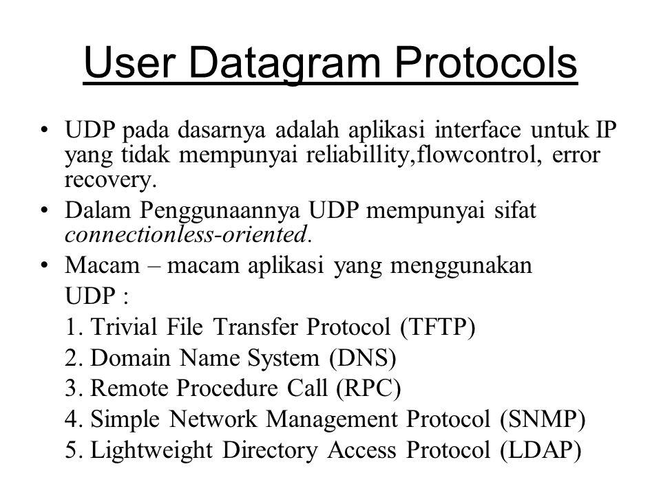 User Datagram Protocols UDP pada dasarnya adalah aplikasi interface untuk IP yang tidak mempunyai reliabillity,flowcontrol, error recovery.