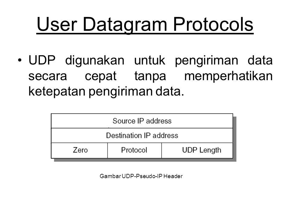 User Datagram Protocols UDP digunakan untuk pengiriman data secara cepat tanpa memperhatikan ketepatan pengiriman data.
