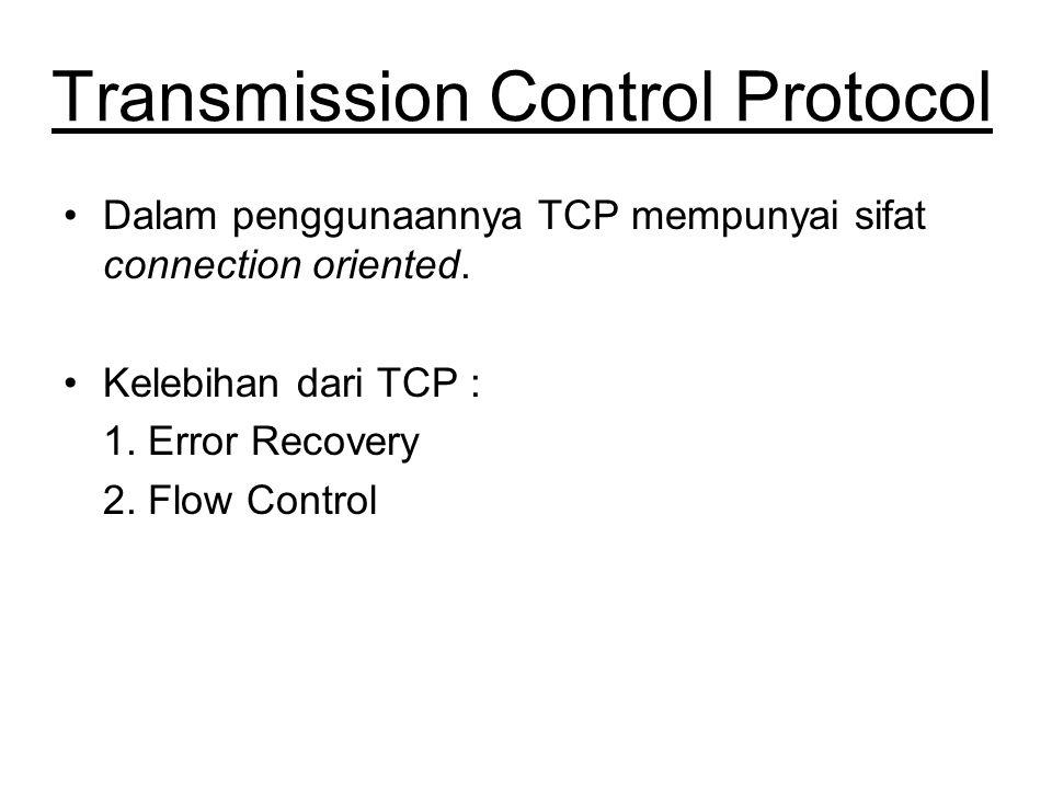 Transmission Control Protocol Dalam penggunaannya TCP mempunyai sifat connection oriented.