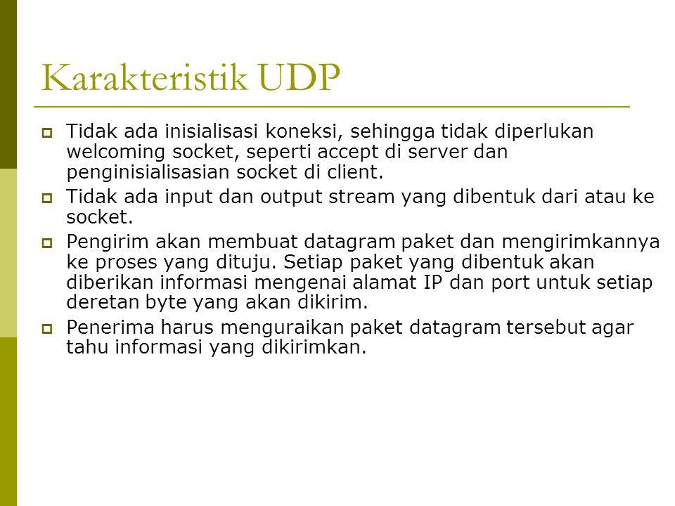 Karakteristik UDP  Tidak ada inisialisasi koneksi, sehingga tidak diperlukan welcoming socket, seperti accept di server dan penginisialisasian socket