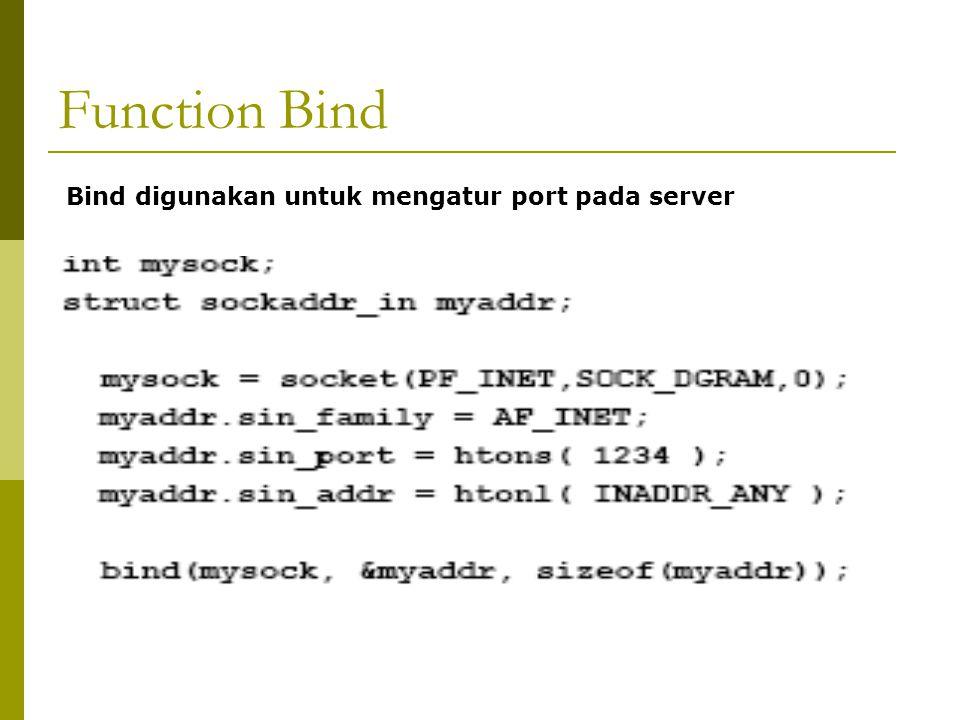 Function Bind Bind digunakan untuk mengatur port pada server