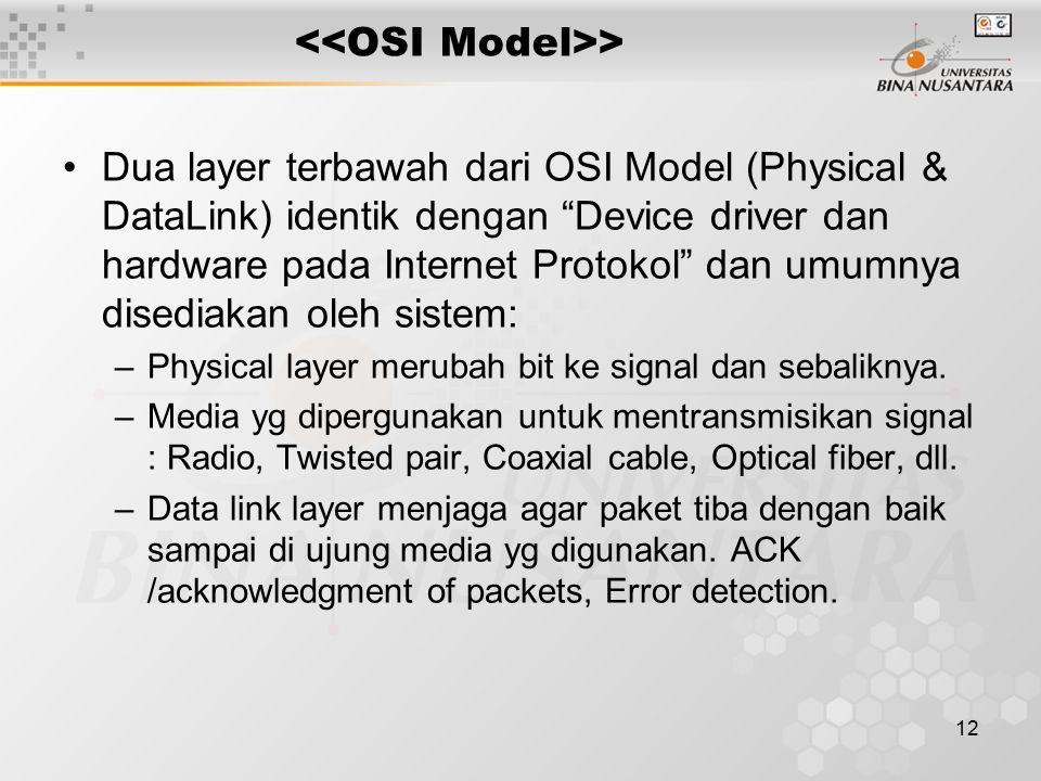 """12 > Dua layer terbawah dari OSI Model (Physical & DataLink) identik dengan """"Device driver dan hardware pada Internet Protokol"""" dan umumnya disediakan"""