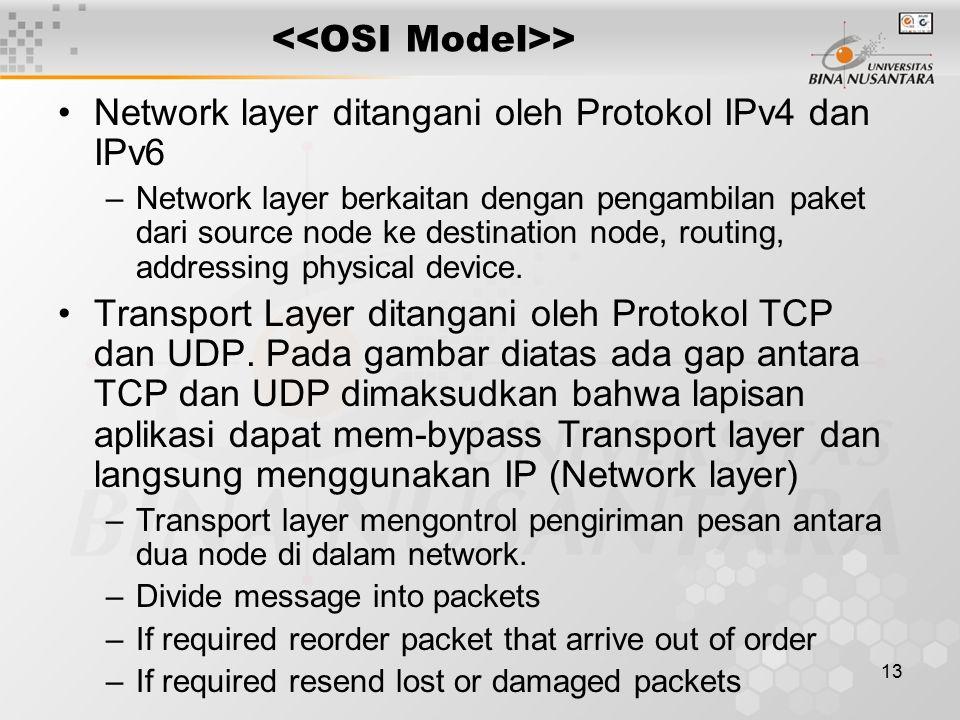 13 > Network layer ditangani oleh Protokol IPv4 dan IPv6 –Network layer berkaitan dengan pengambilan paket dari source node ke destination node, routi