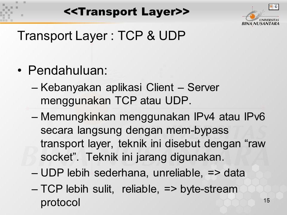 15 > Transport Layer : TCP & UDP Pendahuluan: –Kebanyakan aplikasi Client – Server menggunakan TCP atau UDP. –Memungkinkan menggunakan IPv4 atau IPv6