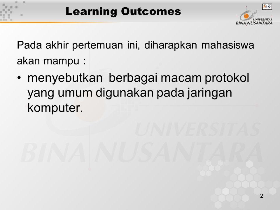 2 Learning Outcomes Pada akhir pertemuan ini, diharapkan mahasiswa akan mampu : menyebutkan berbagai macam protokol yang umum digunakan pada jaringan