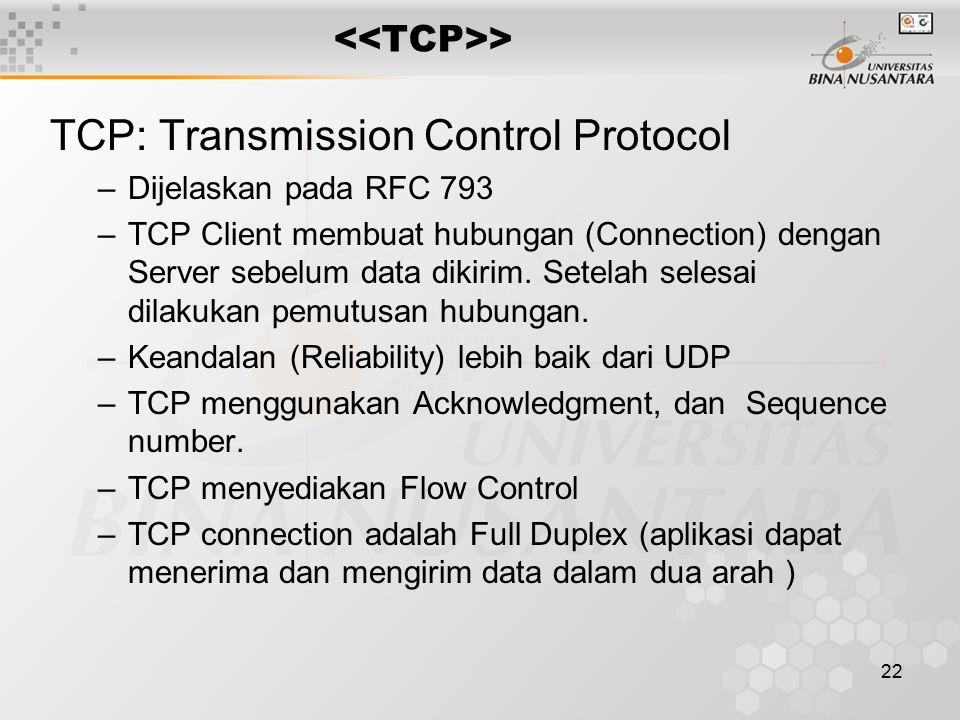 22 > TCP: Transmission Control Protocol –Dijelaskan pada RFC 793 –TCP Client membuat hubungan (Connection) dengan Server sebelum data dikirim. Setelah