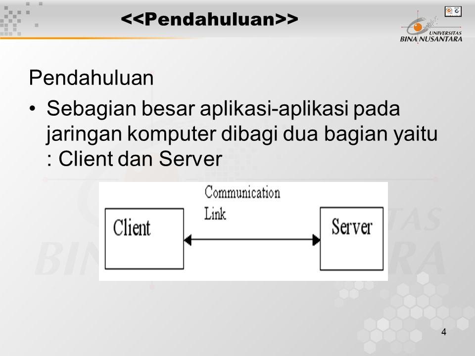 5 > Contoh : –Web Brouser (Clinet) vs Web Server –FTP Client vs FTP Server –Telnet Client vs Telnet Server Client berkomunikasi dengan satu Server, sedangkan Server dapat berkunikasi dengan beberapa Client pada saat yg sama