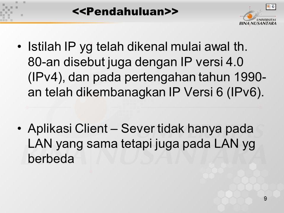 9 > Istilah IP yg telah dikenal mulai awal th. 80-an disebut juga dengan IP versi 4.0 (IPv4), dan pada pertengahan tahun 1990- an telah dikembanagkan