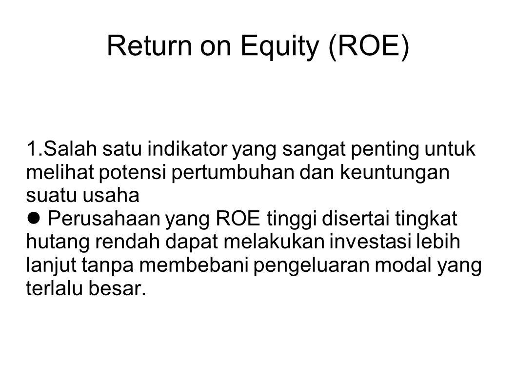 Return on Equity (ROE) 1.Salah satu indikator yang sangat penting untuk melihat potensi pertumbuhan dan keuntungan suatu usaha Perusahaan yang ROE ti