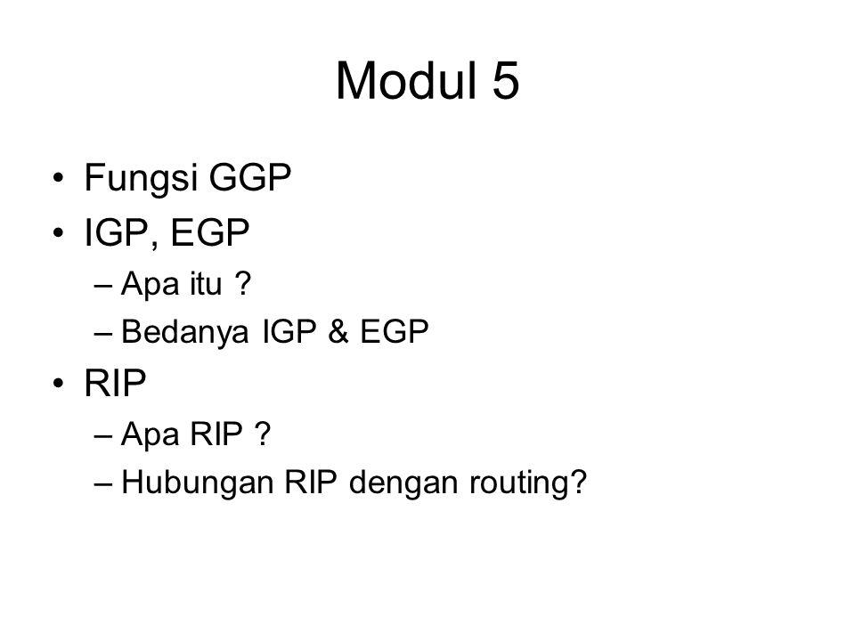 Modul 5 Fungsi GGP IGP, EGP –Apa itu . –Bedanya IGP & EGP RIP –Apa RIP .