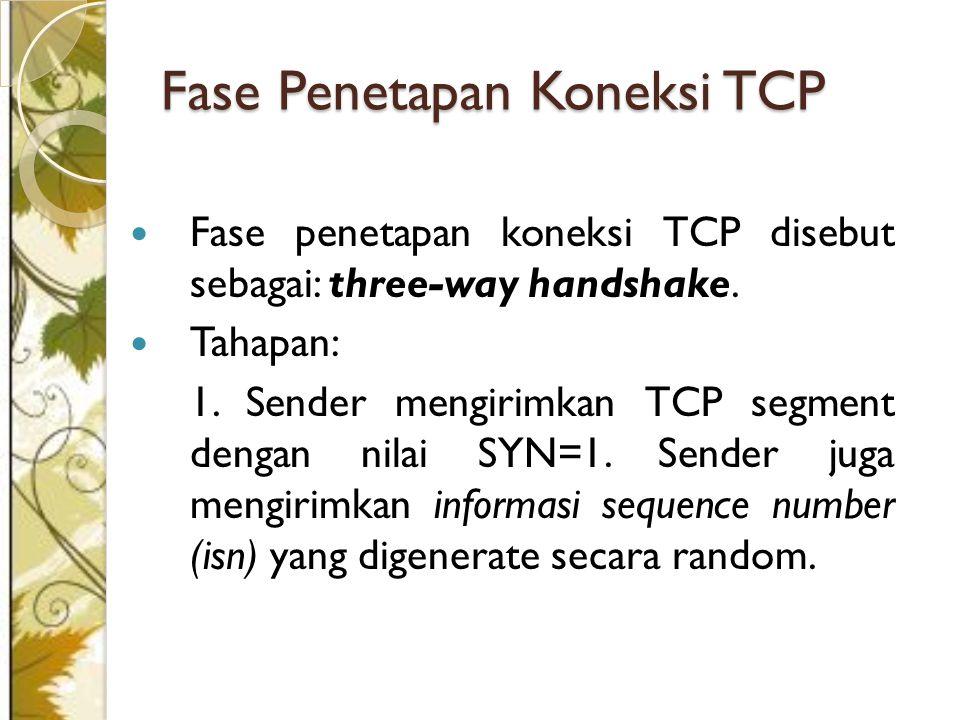 Fase penetapan koneksi TCP disebut sebagai: three-way handshake.