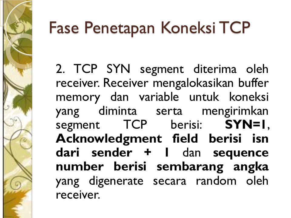 Fase Penetapan Koneksi TCP 2.TCP SYN segment diterima oleh receiver.