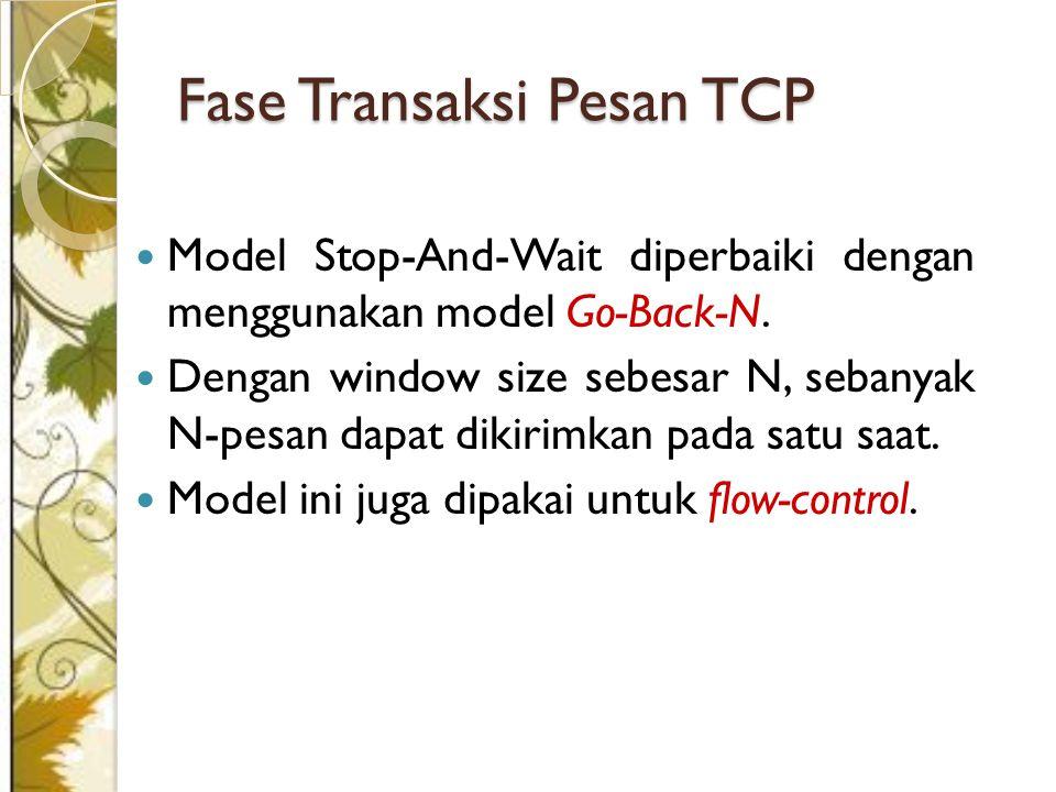 Fase Transaksi Pesan TCP Model Stop-And-Wait diperbaiki dengan menggunakan model Go-Back-N.
