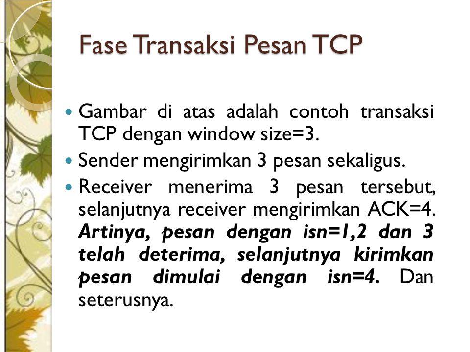 Gambar di atas adalah contoh transaksi TCP dengan window size=3. Sender mengirimkan 3 pesan sekaligus. Receiver menerima 3 pesan tersebut, selanjutnya