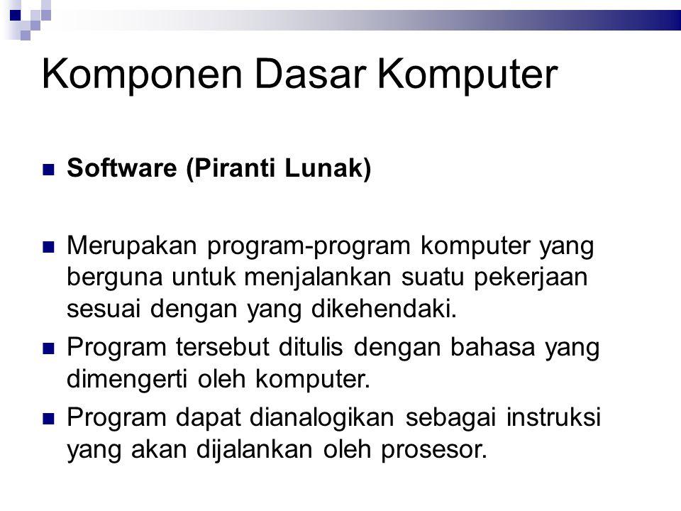 Komponen Dasar Komputer Software (Piranti Lunak) Merupakan program-program komputer yang berguna untuk menjalankan suatu pekerjaan sesuai dengan yang