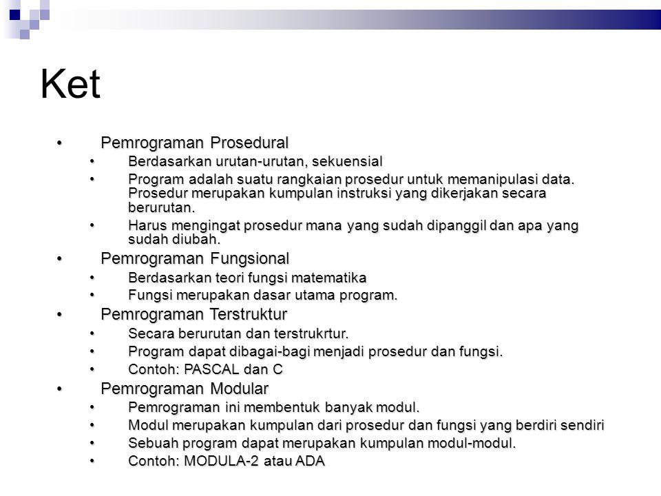 Ket Pemrograman Prosedural Pemrograman Prosedural Berdasarkan urutan-urutan, sekuensial Berdasarkan urutan-urutan, sekuensial Program adalah suatu ran
