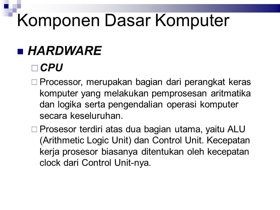 Komponen Dasar Komputer HARDWARE  CPU  Processor, merupakan bagian dari perangkat keras komputer yang melakukan pemprosesan aritmatika dan logika se