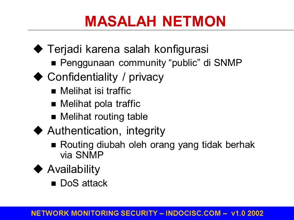 """NETWORK MONITORING SECURITY – INDOCISC.COM – v1.0 2002 MASALAH NETMON  Terjadi karena salah konfigurasi Penggunaan community """"public"""" di SNMP  Confi"""