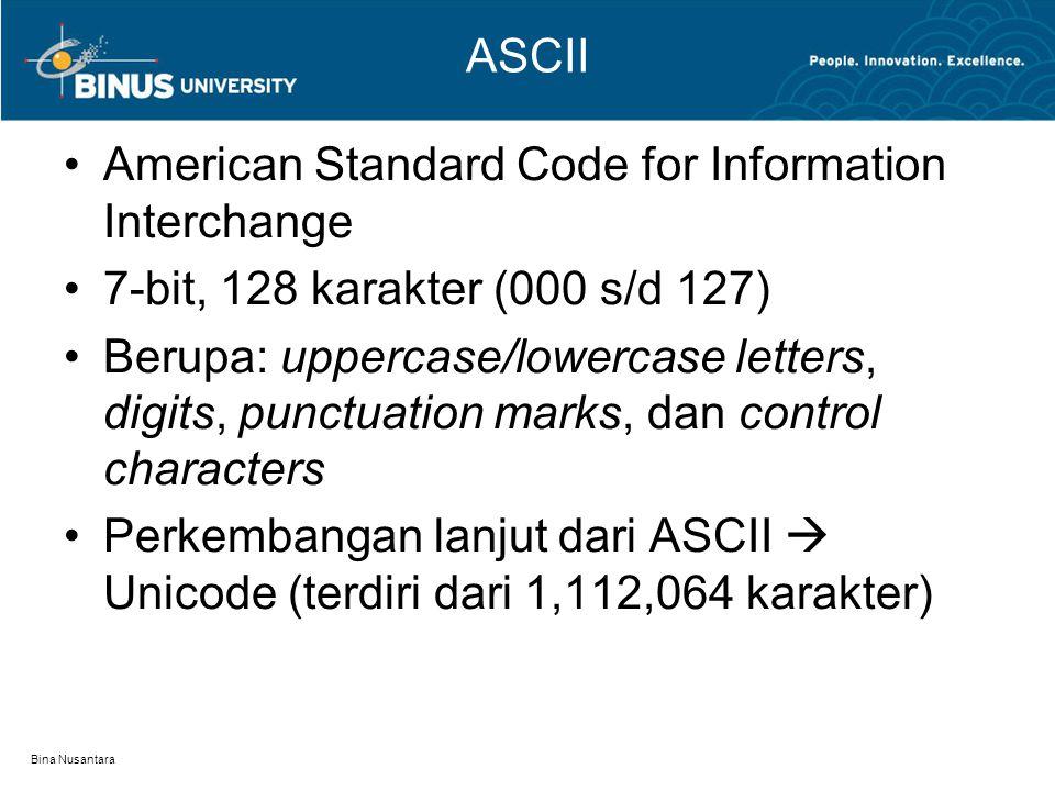 Bina Nusantara ASCII American Standard Code for Information Interchange 7-bit, 128 karakter (000 s/d 127) Berupa: uppercase/lowercase letters, digits, punctuation marks, dan control characters Perkembangan lanjut dari ASCII  Unicode (terdiri dari 1,112,064 karakter)