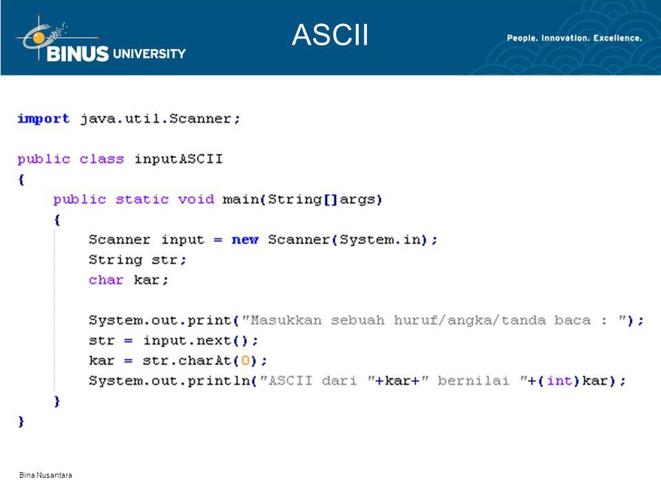 Bina Nusantara ASCII