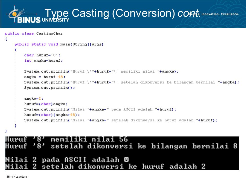 Bina Nusantara Type Casting (Conversion) cont.