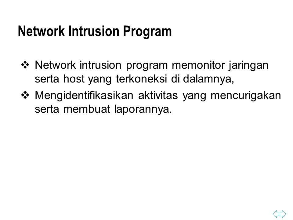 Network Intrusion Program  Network intrusion program memonitor jaringan serta host yang terkoneksi di dalamnya,  Mengidentifikasikan aktivitas yang mencurigakan serta membuat laporannya.