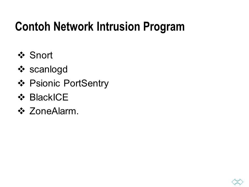 Contoh Network Intrusion Program  Snort  scanlogd  Psionic PortSentry  BlackICE  ZoneAlarm.