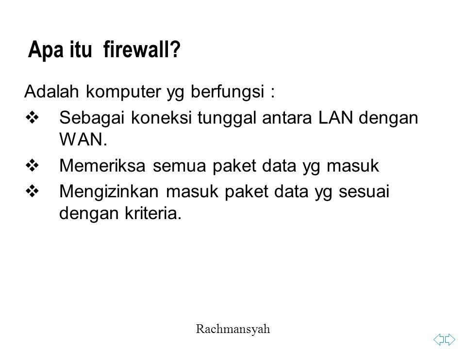 Rachmansyah Apa itu firewall.