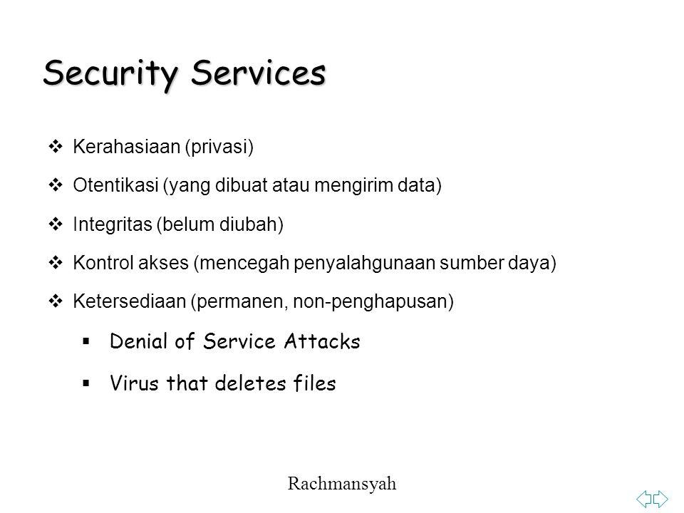 Rachmansyah Security Services  Kerahasiaan (privasi)  Otentikasi (yang dibuat atau mengirim data)  Integritas (belum diubah)  Kontrol akses (mencegah penyalahgunaan sumber daya)  Ketersediaan (permanen, non-penghapusan)  Denial of Service Attacks  Virus that deletes files