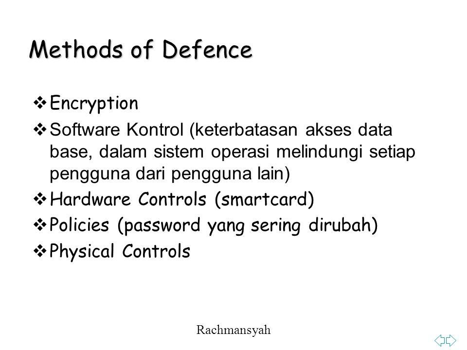 Rachmansyah Methods of Defence  Encryption  Software Kontrol (keterbatasan akses data base, dalam sistem operasi melindungi setiap pengguna dari pengguna lain)  Hardware Controls (smartcard)  Policies (password yang sering dirubah)  Physical Controls