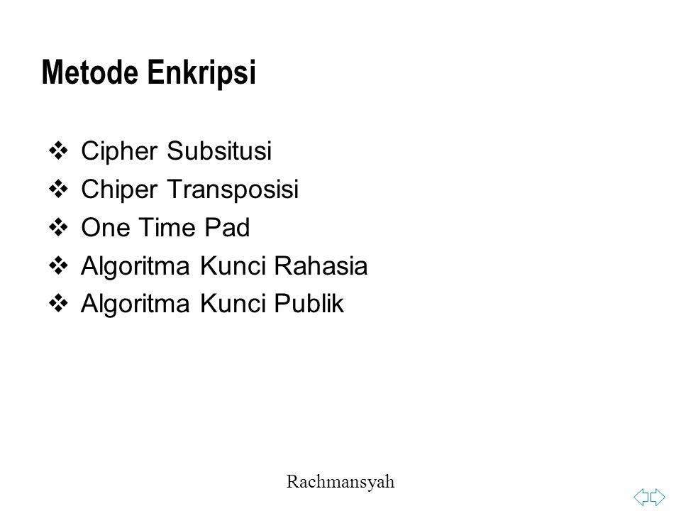 Rachmansyah Metode Enkripsi  Cipher Subsitusi  Chiper Transposisi  One Time Pad  Algoritma Kunci Rahasia  Algoritma Kunci Publik