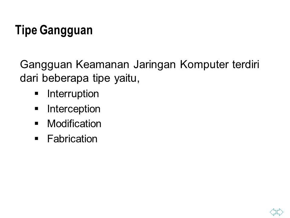 Tipe Gangguan Gangguan Keamanan Jaringan Komputer terdiri dari beberapa tipe yaitu,  Interruption  Interception  Modification  Fabrication
