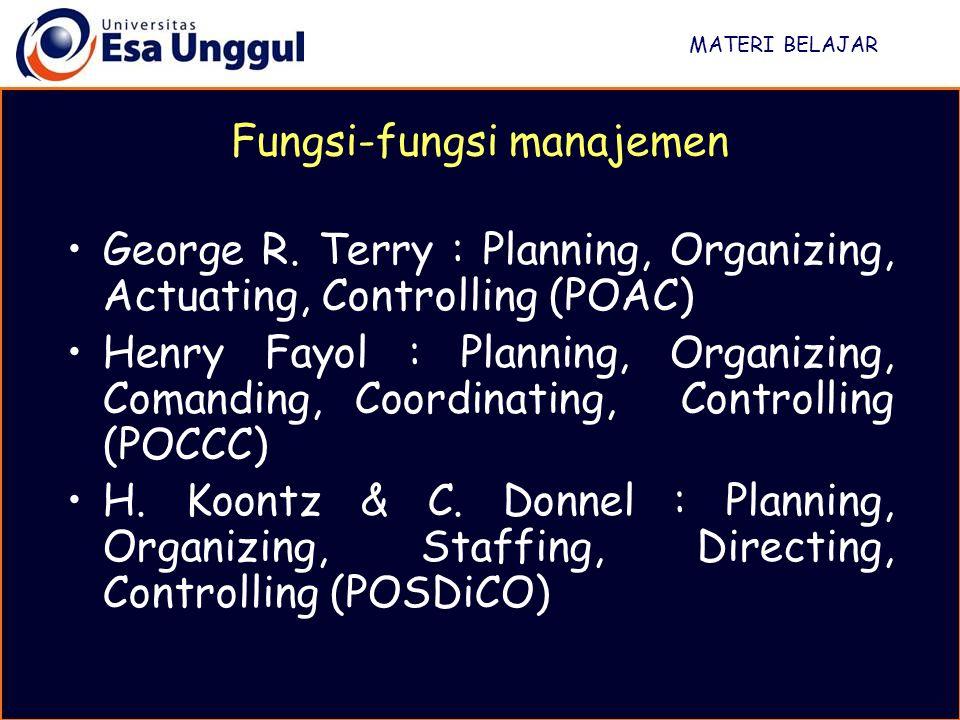 MATERI BELAJAR George R. Terry : Planning, Organizing, Actuating, Controlling (POAC) Henry Fayol : Planning, Organizing, Comanding, Coordinating, Cont