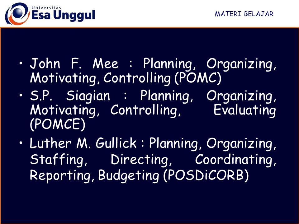 MATERI BELAJAR John F. Mee : Planning, Organizing, Motivating, Controlling (POMC) S.P. Siagian : Planning, Organizing, Motivating, Controlling, Evalua