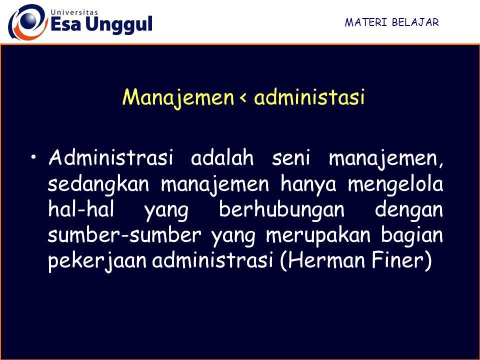 MATERI BELAJAR Administrasi adalah seni manajemen, sedangkan manajemen hanya mengelola hal-hal yang berhubungan dengan sumber-sumber yang merupakan ba