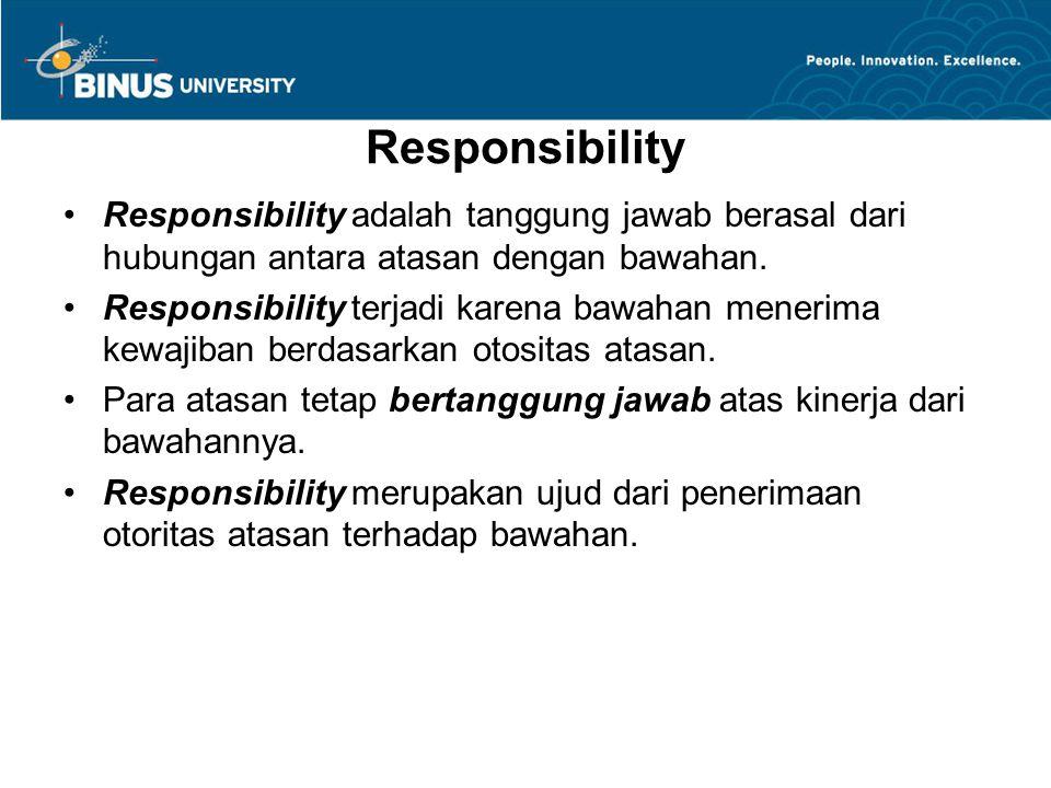 Responsibility Responsibility adalah tanggung jawab berasal dari hubungan antara atasan dengan bawahan. Responsibility terjadi karena bawahan menerima