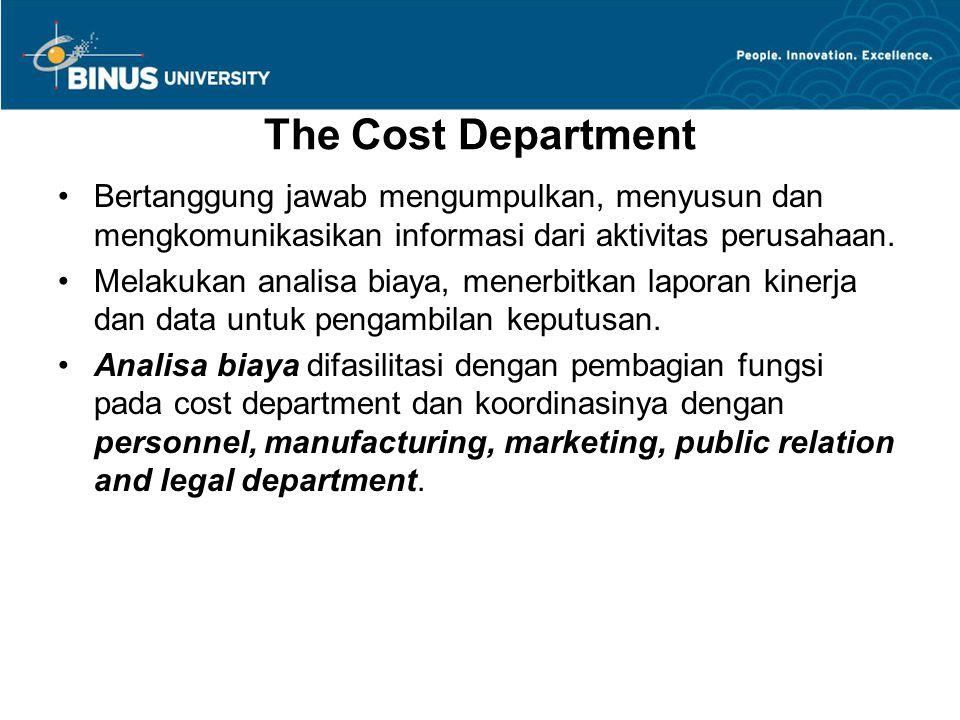 The Cost Department Bertanggung jawab mengumpulkan, menyusun dan mengkomunikasikan informasi dari aktivitas perusahaan. Melakukan analisa biaya, mener