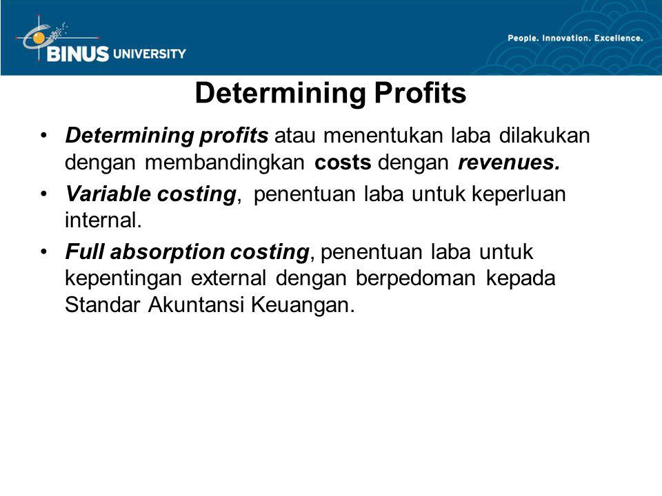 Determining Profits Determining profits atau menentukan laba dilakukan dengan membandingkan costs dengan revenues. Variable costing, penentuan laba un
