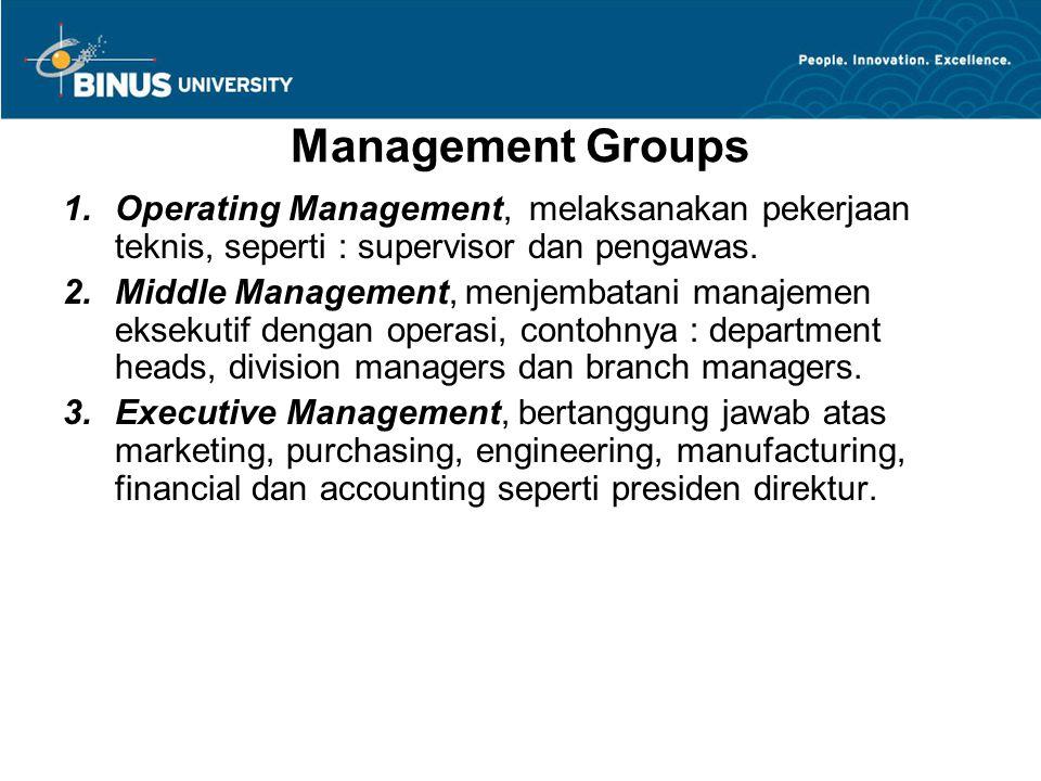 Management Groups 1.Operating Management, melaksanakan pekerjaan teknis, seperti : supervisor dan pengawas. 2.Middle Management, menjembatani manajeme