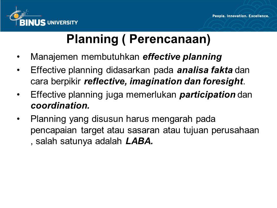 Planning ( Perencanaan) Manajemen membutuhkan effective planning Effective planning didasarkan pada analisa fakta dan cara berpikir reflective, imagin