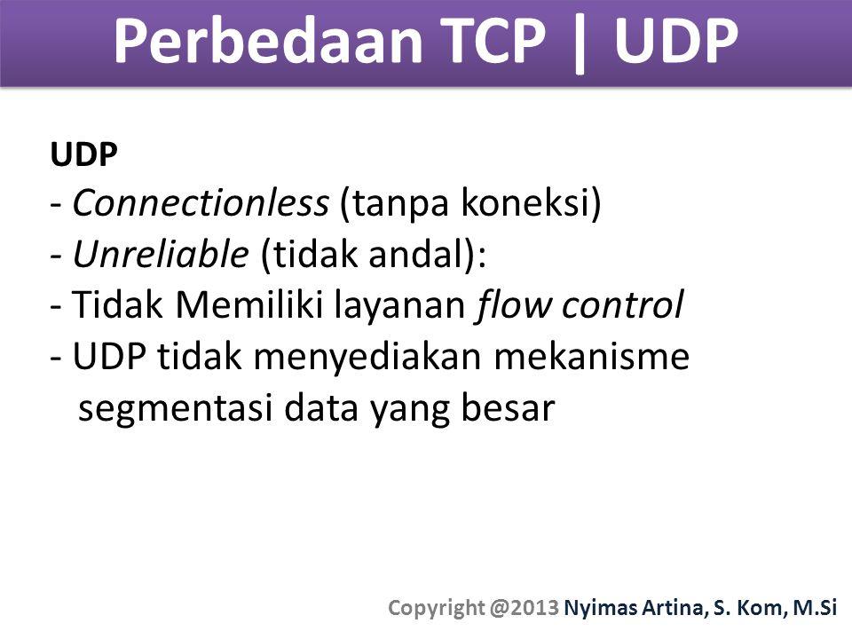 Perbedaan TCP | UDP Copyright @2013 Nyimas Artina, S. Kom, M.Si UDP - Connectionless (tanpa koneksi) - Unreliable (tidak andal): - Tidak Memiliki laya